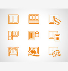 Plastic windows scetch icons vector