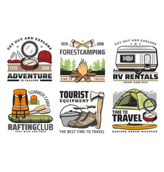 rafting forest camping and hiking travel icons vector image
