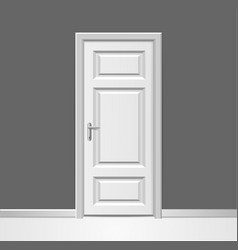 Realistic 3d closed white wooden door with frame vector