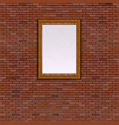 Realistic brick wall white frame vector