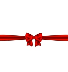 Red ribbon with bow on white background vector image