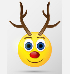 Reindeer emoticon emoji smiley vector image