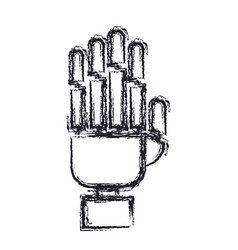 Robot hand icon in blurred silhouette vector