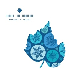 Round snowflakes leaf silhouette pattern frame vector