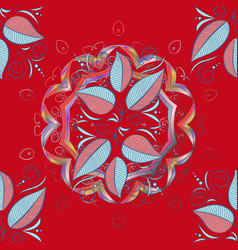 seamless pattern with leaves on a red neutral and vector image