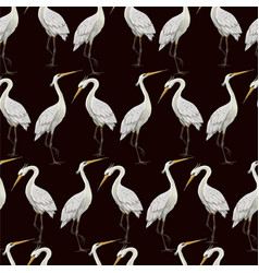 seamless pattern with white herons vector image