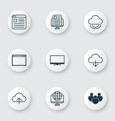 Set of 9 world wide web icons includes display vector