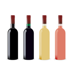 set of four blank wine bottles for branding vector image