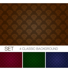 Set of seamless background with Damascus ornament vector