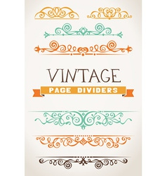 Set of vintage page dividers for your design vector