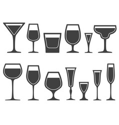 Set of wineglass and glass different shapes icons vector