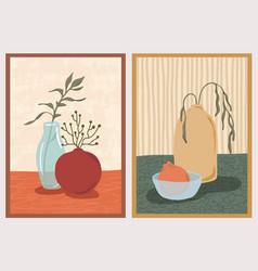 Set wall art paintings still life composition vector