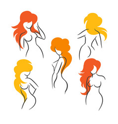 sexy long hair girls silhouettes set vector image