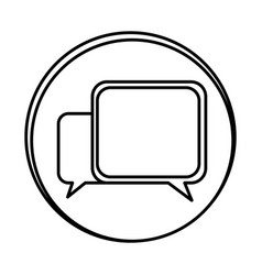 Silhouette symbol square chat bubbles icon vector