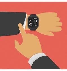 Smart watch on the hand vector image