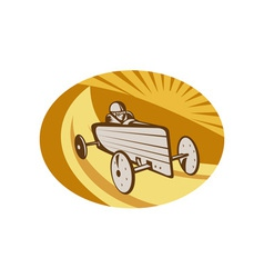 Soap box derby car racing with sunburst vector image