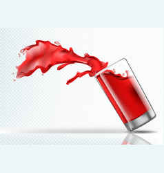 splash of cherry juice from a falling glass vector image