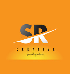 Sr s r letter modern logo design with yellow vector