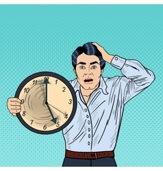 Stressed Pop Art Business Man with Big Clock vector image