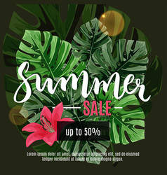 Summer sale card with flowers and leaves vector