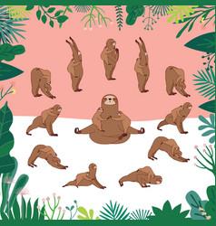 Surya namaskara sloth mama yoga vector