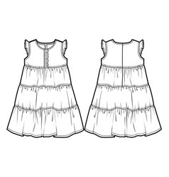 tech sketch of a summer dress vector image