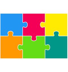 The puzzle pieces infographics six steps puzzle vector