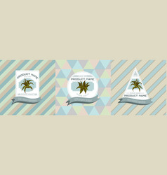 Three colored labels with aloe vector