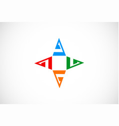 triangle star business logo vector image