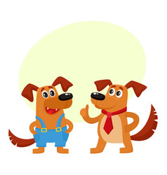 Two dog characters in blue overalls and red tie vector