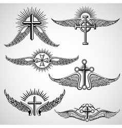 Vintage cross and wings tattoo elements vector