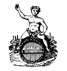 Vintage engraving set an angel on wine barrels vector
