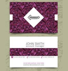 Violet triangles modern business card design vector