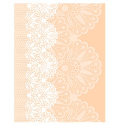White flower lace border on beige background vector