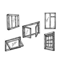 windows wooden engraving vector image