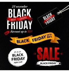 Black friday sale design elements inscription vector image
