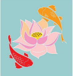 koi and lotus vector image