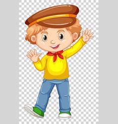 Little boy in yellow shirt waving hand vector