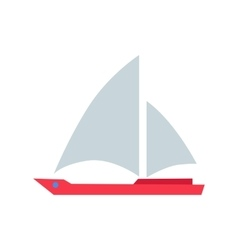 Red Boat with White Sails vector image