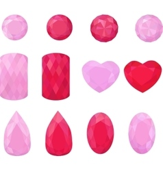 Set of pink and red jewels Colorful gemstones vector image
