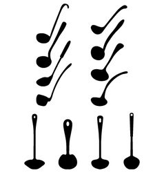 silhouettes of ladle vector image vector image
