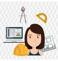 Woman architect plane tool vector