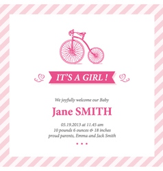 Baby announcement card it s girl vector