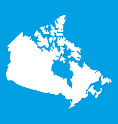 canada map icon white vector image vector image