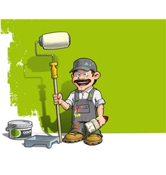 Handyman wall painter gray uniform vector