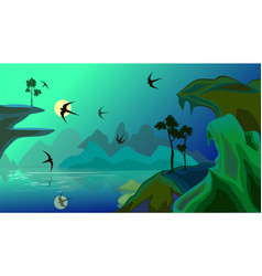 landscape with lake in mountains and vector image