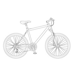 outline bicycle outline isolated on white vector image vector image