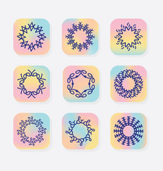 abstract line round symbolic emblems set vector image vector image