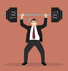 businessman lifting a heavy weight tax vector image vector image