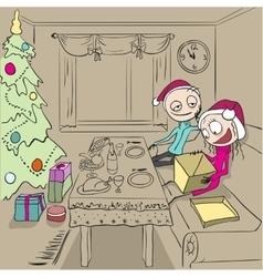 Christmas dinner Girl unpacks gift Couple in vector image vector image